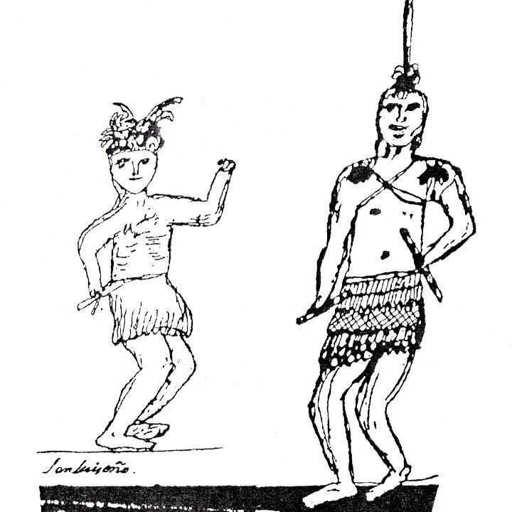 Drawing of Luiseño men in traditional dance regalia, by Pablo Tac (Luiseño, 1822–1844)